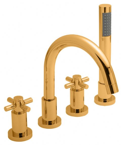 Hudson Reed Tec Crosshead 4 Hole Bath Shower Mixer in DoratO 24ct Gold